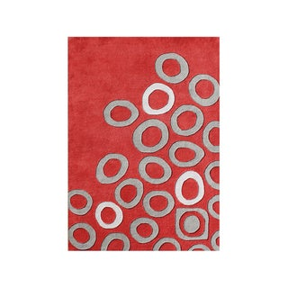Alliyah Handmade Poppy Red New Zealand Blend Wool Rug 9x12