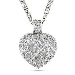 Haylee Jewels Sterling Silver 1ct TDW Diamond Heart Triple-strand Necklace (I-J, I2-I3)
