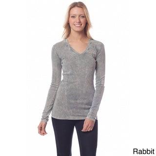 AtoZ Women's Long Sleeve V-neck Top