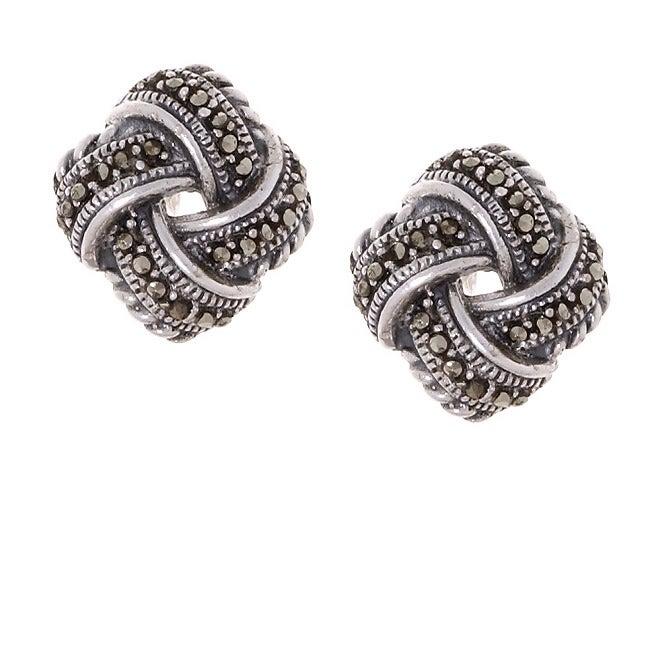 Glitzy Rocks Sterling Silver Marcasite Love Knot Earrings