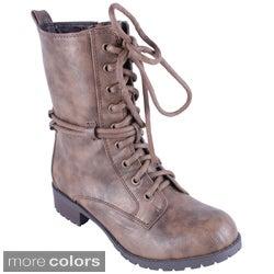 Reneeze Women's 'ALICE-02' Mid-calf Lace-up Combat Boots