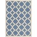 Safavieh Indoor/ Outdoor Courtyard Blue/ Beige Polypropylene Rug (6'7 x 9'6)