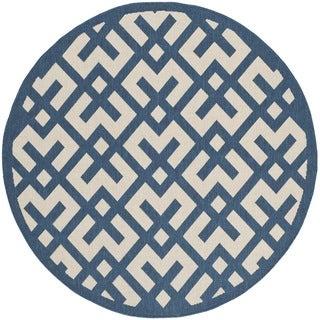 Safavieh Indoor/ Outdoor Courtyard Geometric Navy/ Beige Rug (6'7 Round)