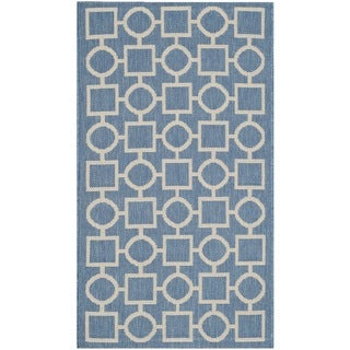 Safavieh Indoor/ Outdoor Courtyard Blue/ Beige Polypropylene Rug (2'7 x 5')