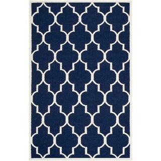Safavieh Hand-woven Moroccan Reversible Dhurrie Navy Wool Rug (9' x 12')