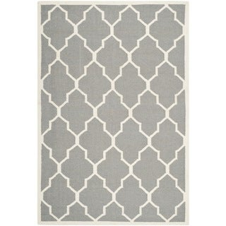 Safavieh Handwoven Moroccan Reversible Dhurrie Transitional Grey Wool Rug (9' x 12')