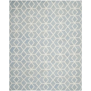 Safavieh Contemporary Safavieh Handwoven Moroccan Reversible Dhurrie Blue/ Ivory Wool Rug (9' x 12')