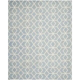 Safavieh Hand-woven Geometric Moroccan Reversible Dhurrie Blue Wool Rug (8' x 10')