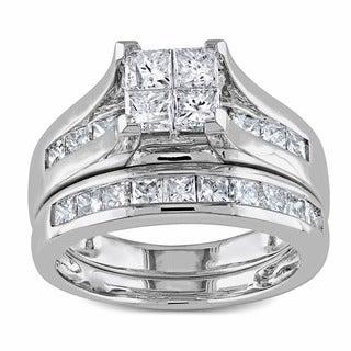 Miadora 2ct Princess Diamond TW Bridal Set Ring 14k White Gold GH I1;I2