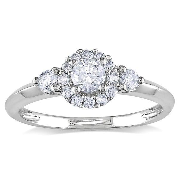 Miadora 10k White Gold 1/2ct TDW Diamond Engagement Ring (H-I, I2-I3)