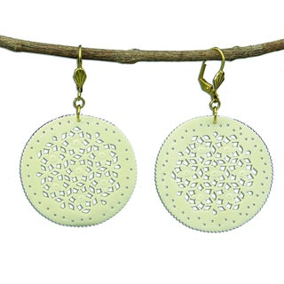 Hand Carved Lacy Round Carved Bone Earrings - Natural (India)