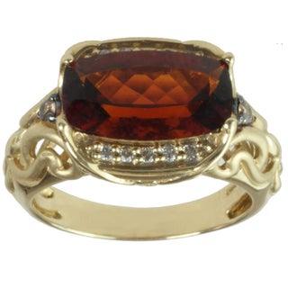 Michael Valitutti 14k Yellow Gold Madeira Citrine and Diamond Ring