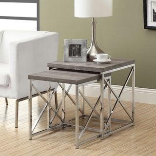 Dark Taupe Reclaimed Wood Chrome Nesting Tables (Set of 2)