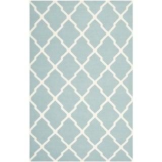 Safavieh Hand-woven Moroccan Reversible Dhurrie Light Blue Wool Rug (9' x 12')