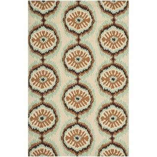 Safavieh Hand-hooked Indoor/Outdoor Four Seasons Beige/ Green Rug (3'6 x 5'6)