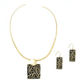 Handcrafted Brass Abstract Wave Necklace and Earring Set (Mexico)