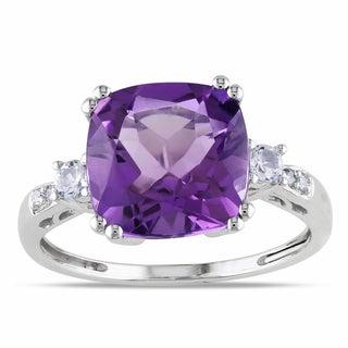 Miadora 10k White Gold Amethyst, Created White Sapphire and Diamond Ring
