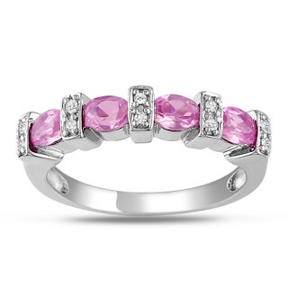 Miadora Sterling Silver Created Pink Sapphire and Diamond Ring