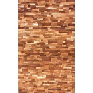 nuLOOM Handmade Geometric Natural Cowhide Leather Rug (7'6 x 9'6)