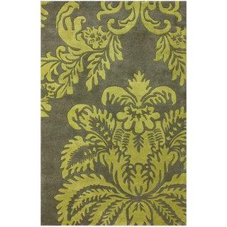 nuLOOM Handmade Damask Green New Zealand Wool Rug (3' x 5')