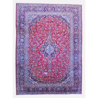 Persian Hand-knotted Kashan Red/ Navy Wool Rug (9'8 x 13'5)
