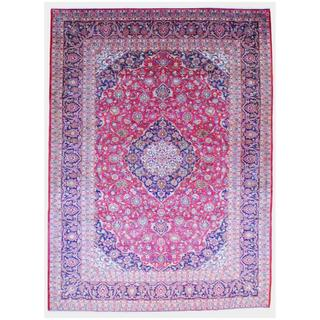 Persian Hand-knotted Kashan Red/ Navy Wool Rug (9'6 x 13')