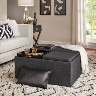 INSPIRE Q Montrose Dark Grey Linen Storage Cocktail Ottoman