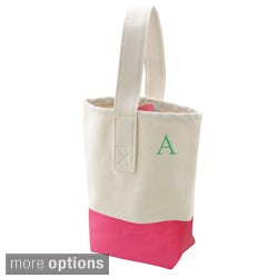Personalized Bright Pink Color Dipped Canvas Wine Tote