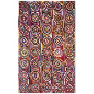Safavieh Hand-made Nantucket Pink Cotton Rug (6' x 9')