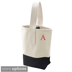 Personalized Black Color Dipped Canvas Wine Tote