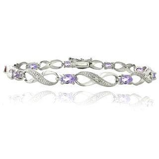 Glitzy Rocks Silvertone Gemstone and Diamond Accent Infinity Link Bracelet