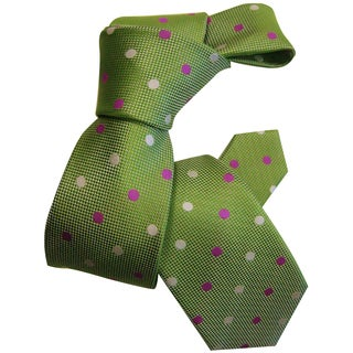 Dmitry Boy's Green Dot-Patterned Italian Silk Woven Tie