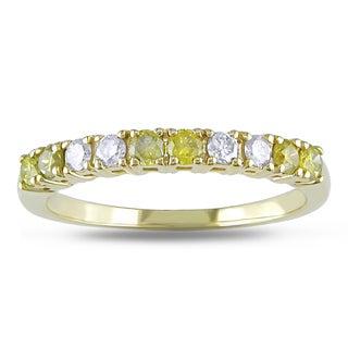 Miadora 14k Gold 1/2ct TDW Yellow and White Diamond Band