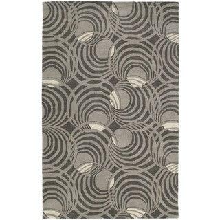 Graffix Spiral Hand-Tufted Grey Rug (8'0 x 11'0)