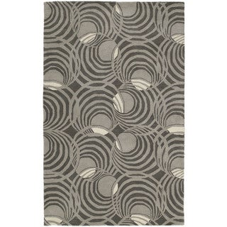 Graffix Spiral Hand-Tufted Grey Rug (7'6 x 9'0)