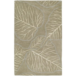 Graffix Leaves Hand-Tufted Brown Rug (7'6 x 9'0)