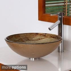 ELITE 70032659 Modern Design Tempered Glass Bathroom Vessel Sink With Faucet Combo