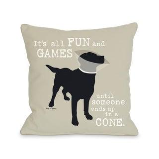 Oatmeal Fun and Games Dog Throw Pillow