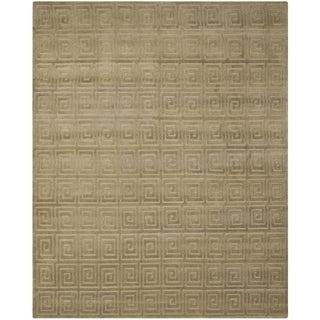 Safavieh Hand-knotted Tibetan Greek Key Olive Wool Rug (8' x 10')