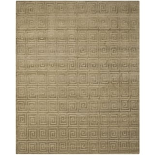 Safavieh Hand-knotted Tibetan Greek Key Olive Wool Rug (9' x 12')