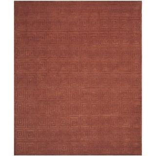 Safavieh Hand-knotted Tibetan Greek Key Rust Wool Rug (9' x 12')