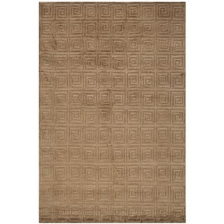 Safavieh Hand-knotted Tibetan Greek Key Deep Bronze Wool Rug (9' x 12')