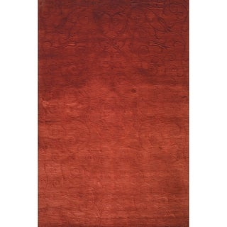 Safavieh Hand-knotted Tibetan Iron Scrolls Raspberry Wool/ Silk Rug (9' x 12')