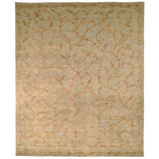 Safavieh Hand-knotted Tibetan Green/ Gold Wool/ Silk Rug (8' x 10')