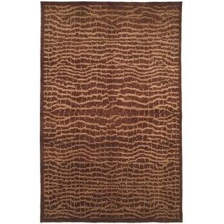 Safavieh Hand-knotted Tibetan Brown/ Beige Wool Rug (9' x 12')