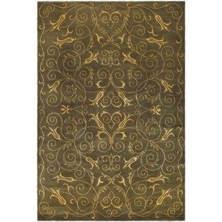 Safavieh Hand-knotted Tibetan Iron Scrolls Green/ Gold Wool/ Silk Rug (9' x 12')
