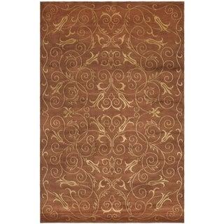 Safavieh Hand-knotted Tibetan Iron Scrolls Rust/ Gold Wool/ Silk Rug (9' x 12')