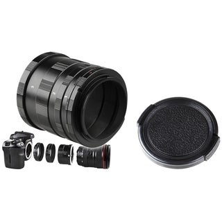 INSTEN Macro Extension Tube Set/ 46mm Black Camera Lens Cap for Canon