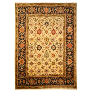 Hand Knotted Wool Ivory Super Mahal Rug (9' x 12')