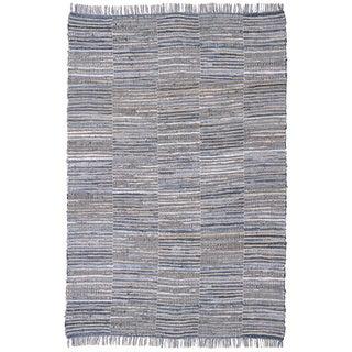 Blue Jeans Checkered Hand Woven Denim/ Hemp Rug (8'x10)